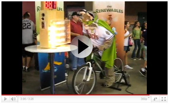pedal power bicycle generator cfl led light emitting diode comparisoin event display